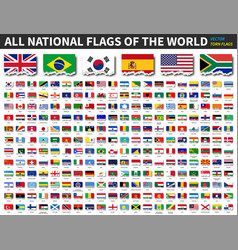 all national flags world torn paper vector image