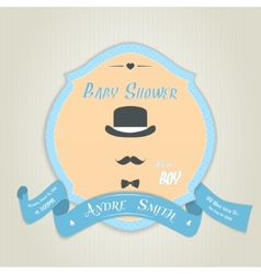 Baby shower invitation with gentleman with bow tie vector image