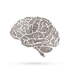 Brain side view designed using line fingerprint vector