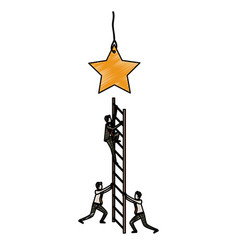 Businessman climbing wooden stairs to reach a star vector