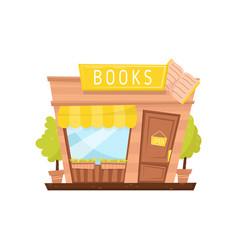 cartoon icon of book store facade building vector image