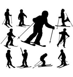 Children skiing vector
