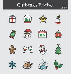 christmas festival icon set 5 flat colour design vector image