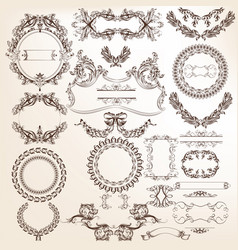 collection or set filigree drawn antique style vector image