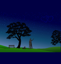 concept of love at nightvalentines day with vector image