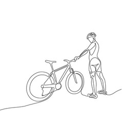 continuous one line woman cyclist in a helmet vector image