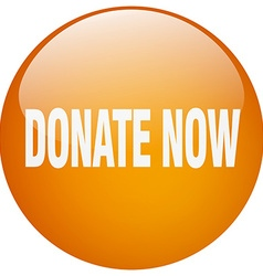Donate now orange round gel isolated push button vector