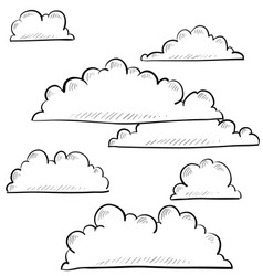 doodle clouds vector image
