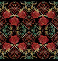 Embroidery roses seamless pattern baroque vector