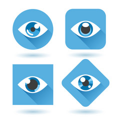 eye blue flat icons set vector image