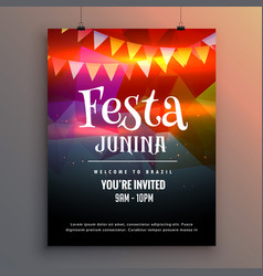 festa junina party invitation flyer design vector image