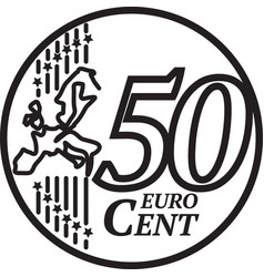 fifty euro cent coin vector image
