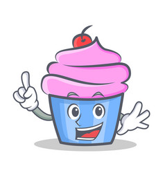 Finger cupcake character cartoon style vector