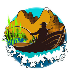 fisherman in a boat and mountains vector image