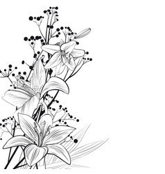 Flower arrangement with lilies in graphic vector