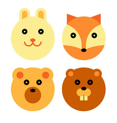 forest animal cartoon set vector image