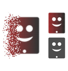 Fragmented pixelated halftone communicator smile vector