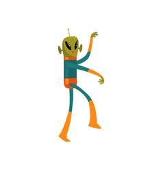 funny green alien humanoid cartoon character with vector image