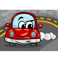 funny retro car cartoon vector image