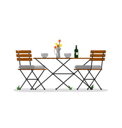 Garden table and chairs vector