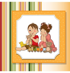 Girl and boy plays with toys vector