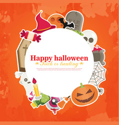 halloween concept banner with flat icon set on vector image vector image