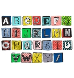 Hand drawn fancy alphabet on blocks vector