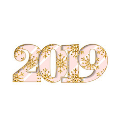 Happy new year card pink number 2019 gold vector