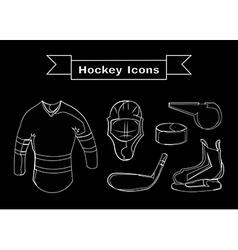 Hockey Sportswear Objects Line art vector