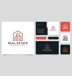 Home building logo line style design vector