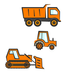 industrial transport set dozer tractor dumper vector image
