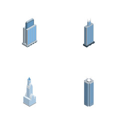 Isometric construction set of skyscraper vector
