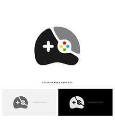 joystick game logo concept template design game vector image