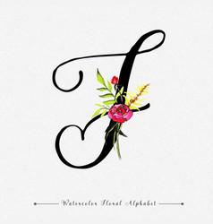 Letter j watercolor floral background vector