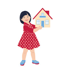 little girl holding house model vector image