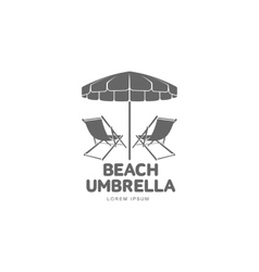 Logo template with beach umbrella and sun bathing vector