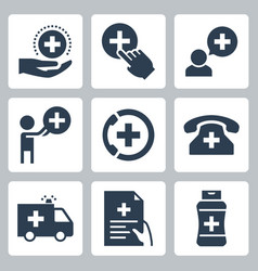 medical and pharmacy icon set in glyph style vector image