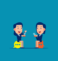 meeting and talking break time vector image