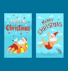 merry christmas santa claus diving lifebuoy vector image
