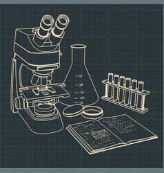 Microscope and laboratory test tubes vector