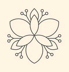 Minimalism linear flower art on beige background vector