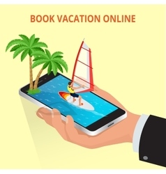 Modern concept of travelingbooking online vector image