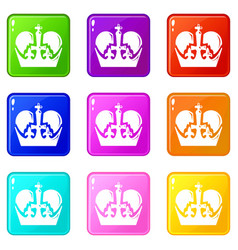 Monarch crown icons set 9 color collection vector
