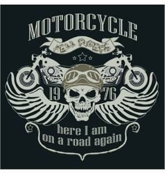 Motorcycle design template logo skull rider - vector