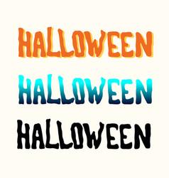 Orange blue black halloween title on the white vector