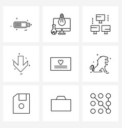 Pack 9 universal line icons for web vector