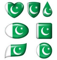 Pakistan Flag in various shape glossy button vector image