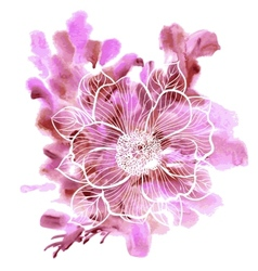 Peony flowers on a watercolor background vector
