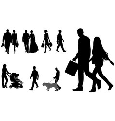 people walking silhouettes collection vector image