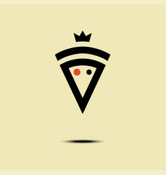 Pizza crowned minimalism style logo icon vector